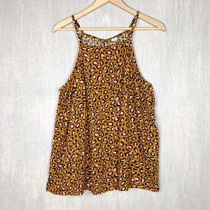 Old Navy leopard print tank top XL gold pink